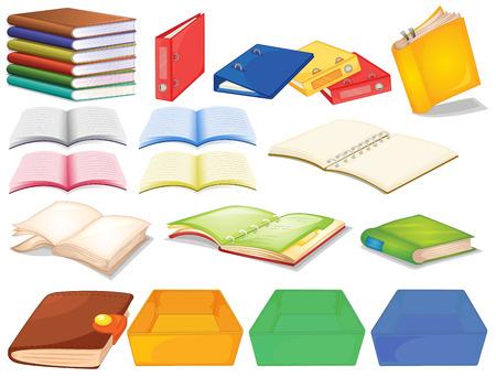 Set di libri in vista diverso