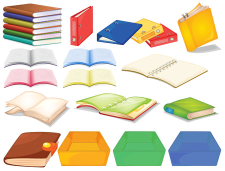 books clipart: Set of books in different view Illustration