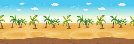 panoramic beach: Many coconut tress on the beach