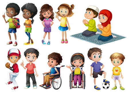 cartoon wheelchair: Children in different positions doing many things