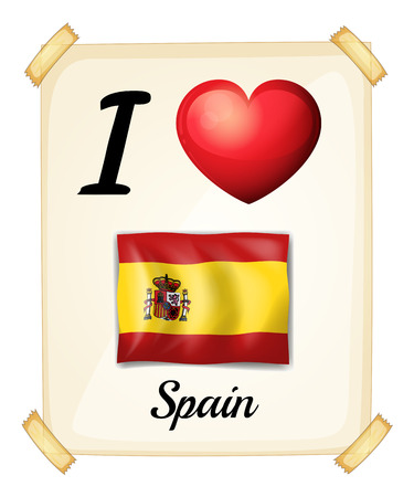 flag spain: I love Spain banner on the wall
