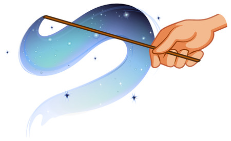 fairy wand: Magic wand with shiny waves of spell Illustration