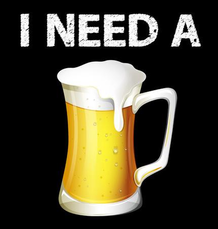jarra de cerveza: Tarro individual de cerveza fría en el fondo negro