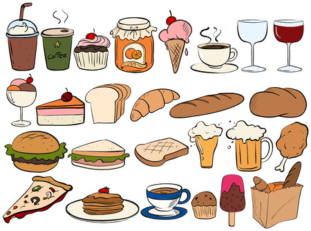 Different type of food and drinks Vector