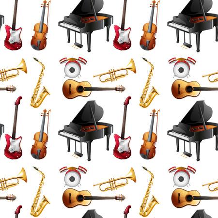 Seamless different kinds of musical instruments Vector