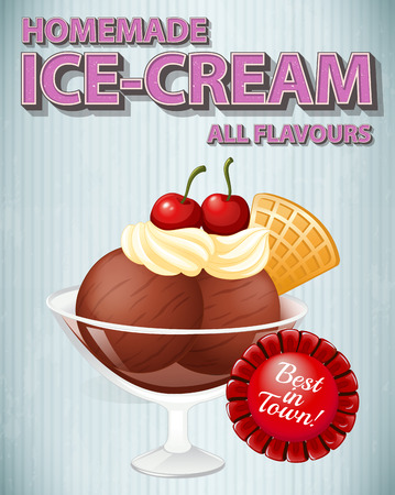 homemade style: Poster promoting homemade icecream in bowl Illustration