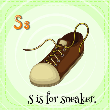 flash card: Flash card letter S is for sneaker