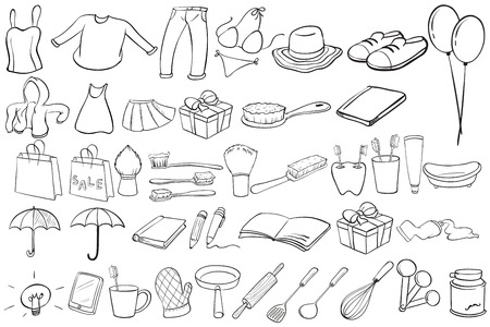 white pants: Doodles of different clothing and things Illustration