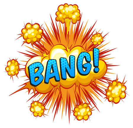 bang: Word bang with cloud explosion background Illustration