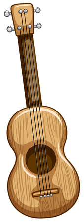 ukulele: Single wooden ukulele with strings on