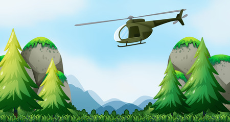helicopter: Helicopter flying over the national park Illustration
