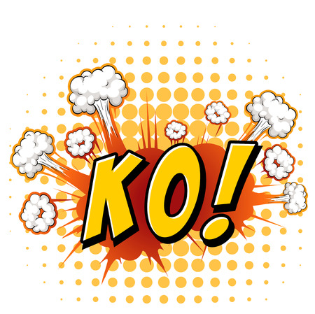 ko: Word KO with cloud explosion background