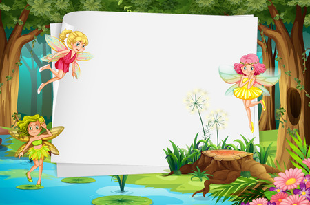 forest clipart: Fairies flying in the forest and a blank sign