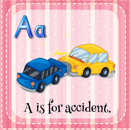 flash card: Flash card letter A is for accident