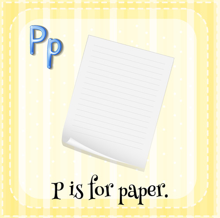 flash card: Flash card letter P is for paper