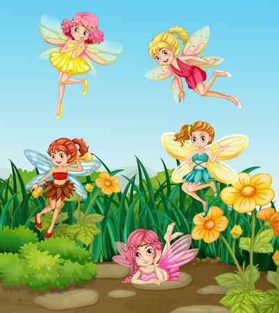 Beautiful fairies flying in the garden
