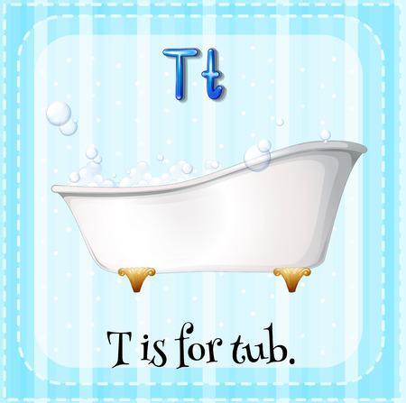 bath tub: Flash card letter T is for tub