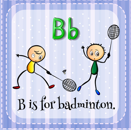 Flash card letter B is for badminton Vector