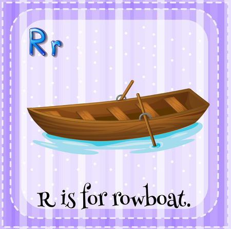 rowboat: Flash card letter R is for rowboat