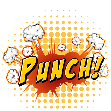 Word punch with explosion background Illustration