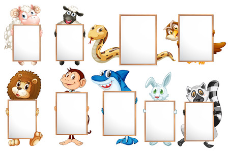 rabbit clipart: Many animals holding empty signs
