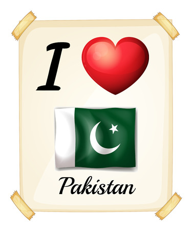 I love Pakistan sign on the wall Vector