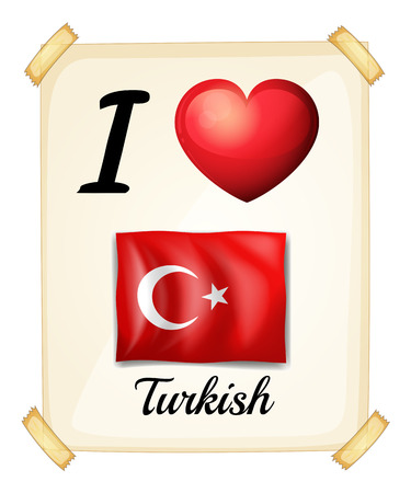 turkish flag: Poster of I love Turkish on the wall