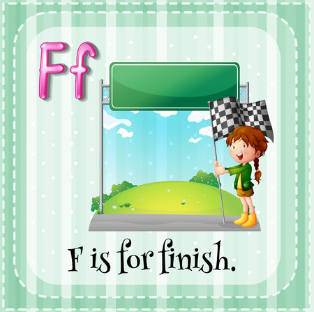 flash card: Flash card letter F is for finish Illustration