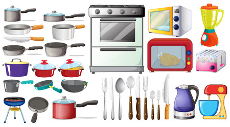Different type of kitchen objects and electronic devices Stock Illustratie