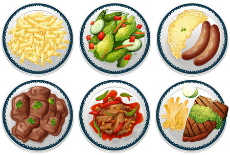 Six plates of main courses on the menu