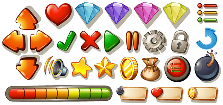 bag cartoon: Different symbols and icons of game elements