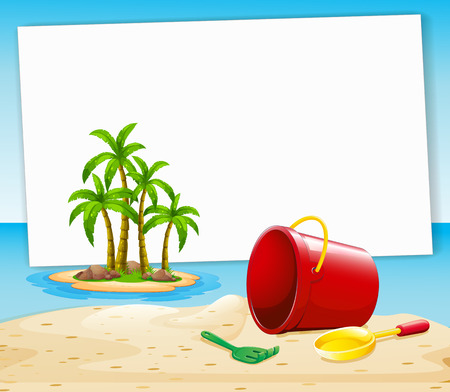 Blank banner with beach and island view background Vector