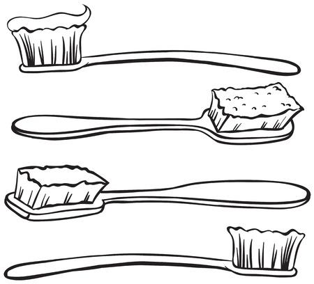 utiles de aseo personal: Cuatro dise�os diferentes de cepillos de dientes con pasta Vectores