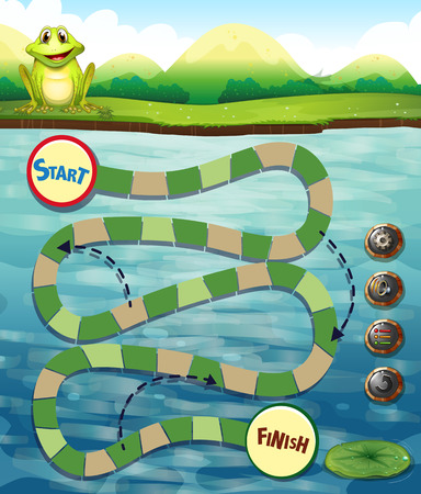 way of living: Puzzle game template with frog and river