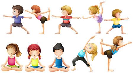 dessin enfants: Les gens qui font du yoga dans diff�rentes positions