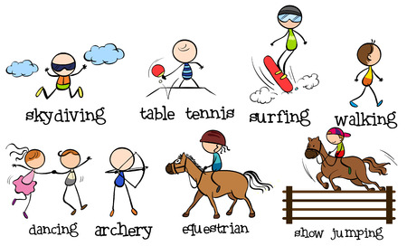 surf team: Doodles different kinds of sports Illustration