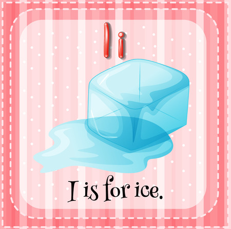 i kids: Flash card letter I is for ice