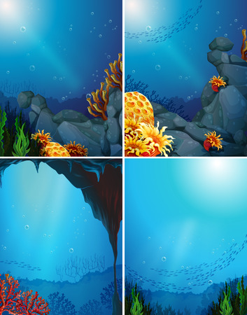 underwater: Four underwater scenes and coral reef