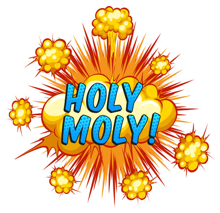 bam: Word holy moly with cloud explosion background Illustration