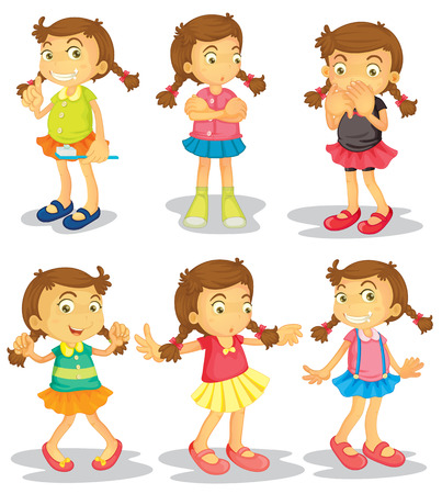 Cute girl in different clothes doing things Vector