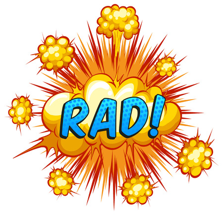 rad: Word rad with cloud explosion background