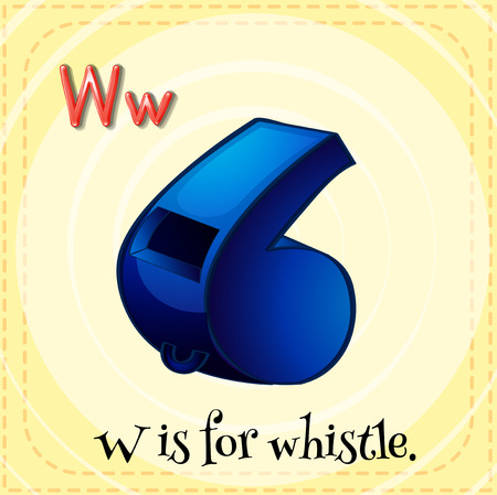 flash card: Flash card letter W is for whistle Illustration