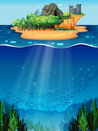 Underwater scene with island on the top Vector