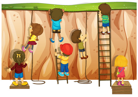 kids playing outside: Many children climbing up the cliff and ladder