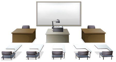Empty classroom with desks and monitor Vector