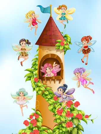 cartoon human: Fairies flying around the castle tower Illustration