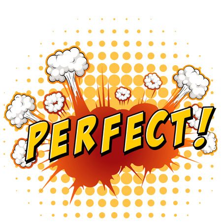 perfect: Word perfect with cloud explosion background
