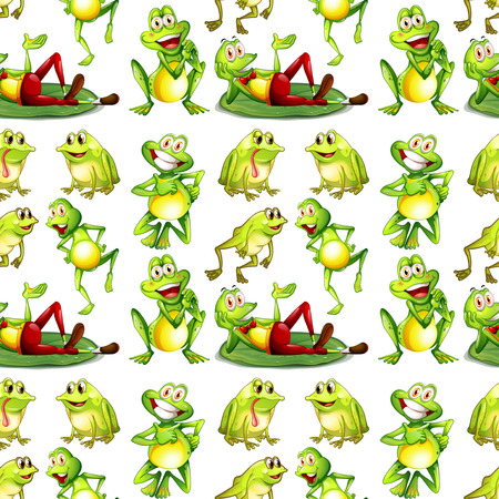 Seamless frogs in many positions Иллюстрация