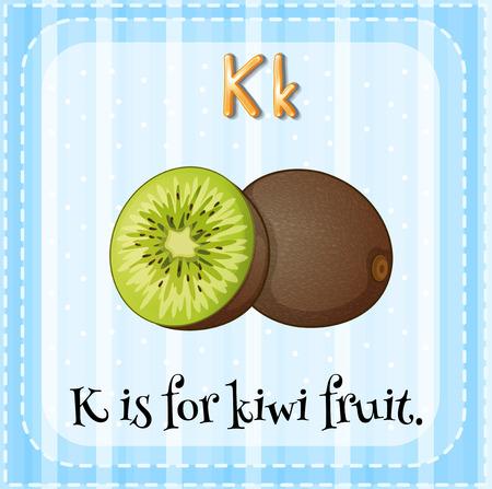 flash card: Flash card letter K is for kiwi fruit Illustration