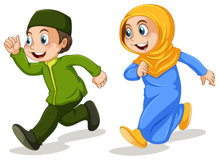happy woman white background: Boy and girl muslim running